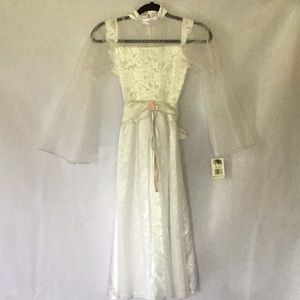 GIRLS WHITE PRINCESS COSTUME DRESS SIZE M